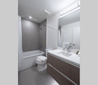 Second Bathroom 3 Piece Fully Furnished Suite Victoria B&W