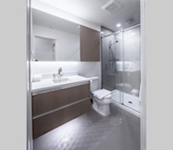 Master Bathroom 3 Piece fully Furnished Suite Victoria B&W